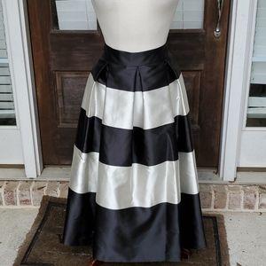 Eliza J Pleated Jacquard Midi Striped Tulle Skirt